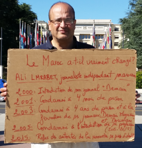 Ali Lmrabet on hunger strike in front of the UN Palace of Nations in Geneva