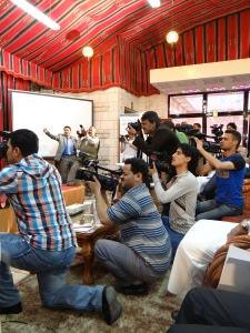 Journalists during World Press Freedom Day in Sana'a 2013